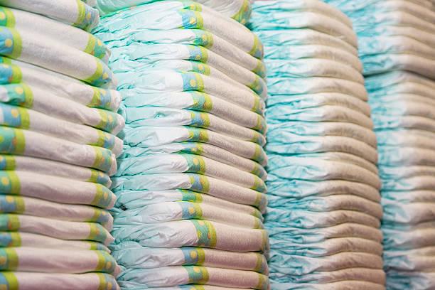 유아복 기저귀 적재형 만들진 필레스 스톡 사진