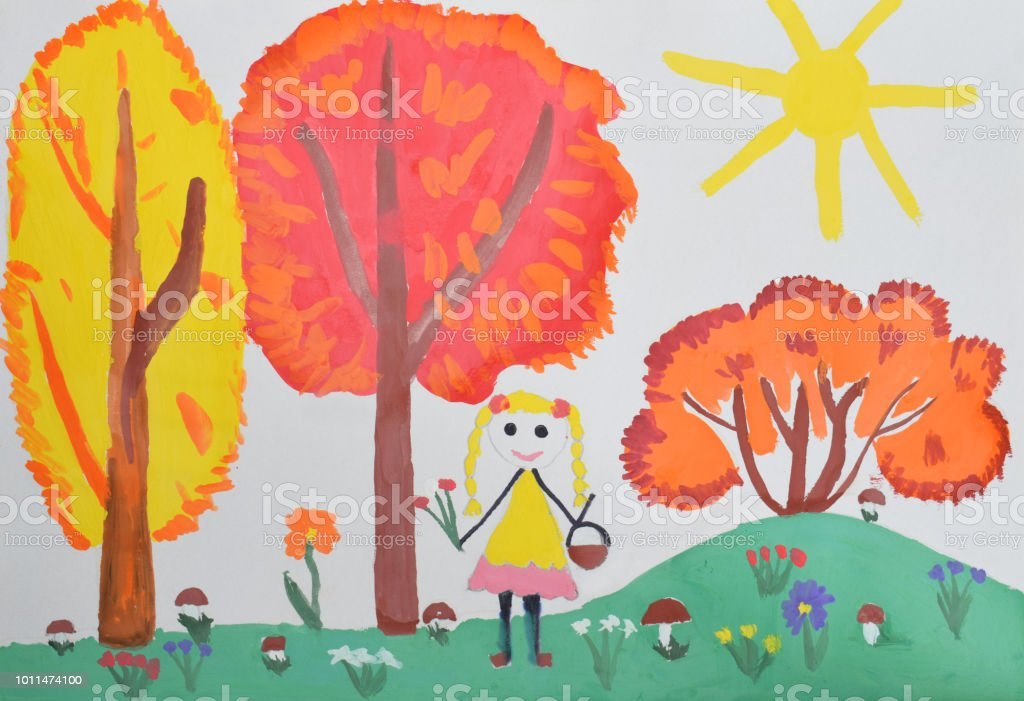 Children's drawing: a girl in a yellow dress walking through the forest, picking mushrooms. Hello Autumn Concept stock photo