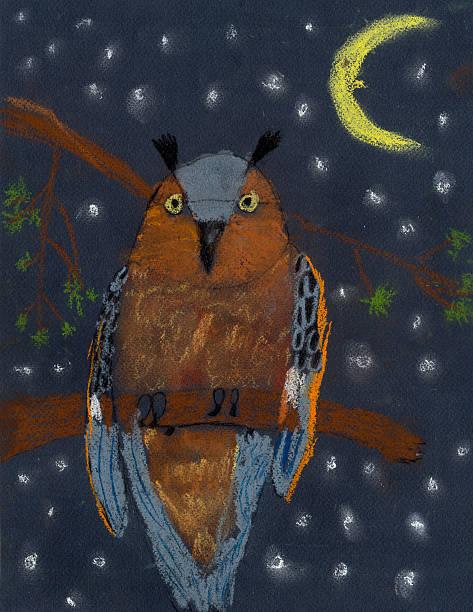 children's drawing color pastel menacing owl - eule zeichnung stock-fotos und bilder