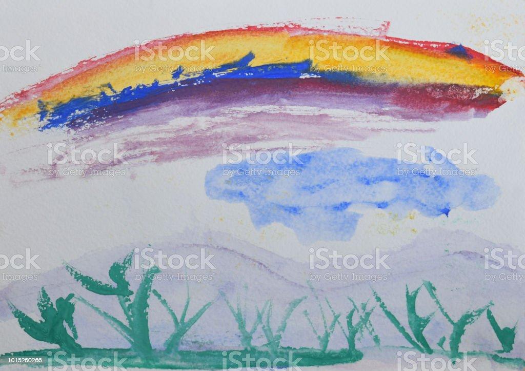 Foto De Desenho Infantil Verde Grama E Arcoiris Desenho Em