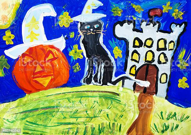 Childrens drawing halloween and black cat picture id493740242?b=1&k=6&m=493740242&s=612x612&h=mbjhe0xhjb q2optwdsfc2v nzckdxcye3ladfwn3wc=