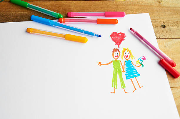 Children's drawing of a couple in love. stock photo