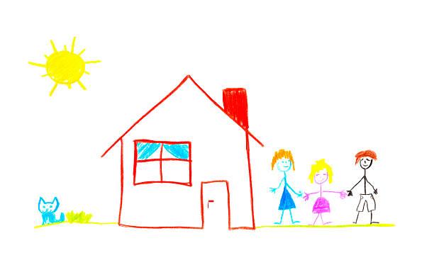 glückliche familie - katze zeichnen stock-fotos und bilder