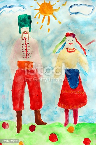 Children's drawing of man and woman in Ukrainian national suits