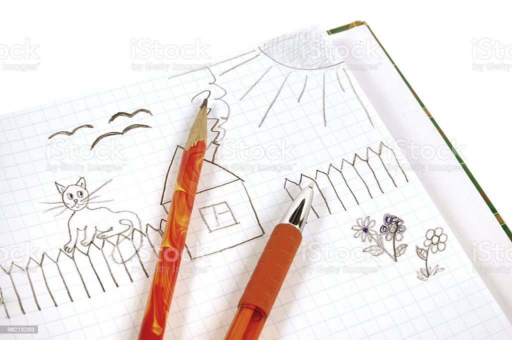 Children's drawing, pencil and the handle royalty-free stock photo