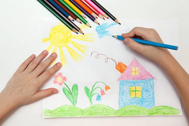 kinder zeichnung - naive malerei stock-fotos und bilder