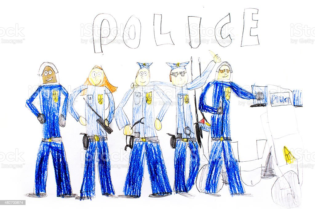 children's drawing police stock photo