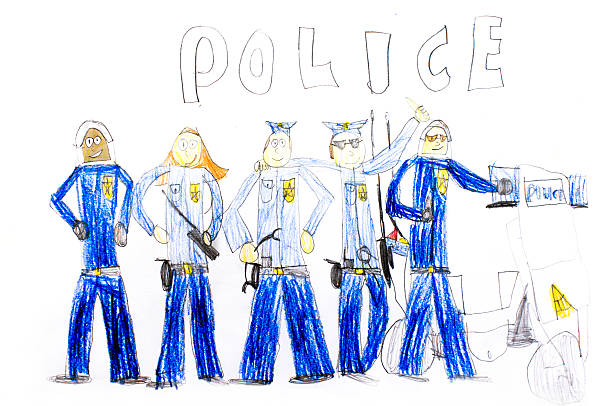 children's drawing police the child drew with pencils police group police uniform stock pictures, royalty-free photos & images