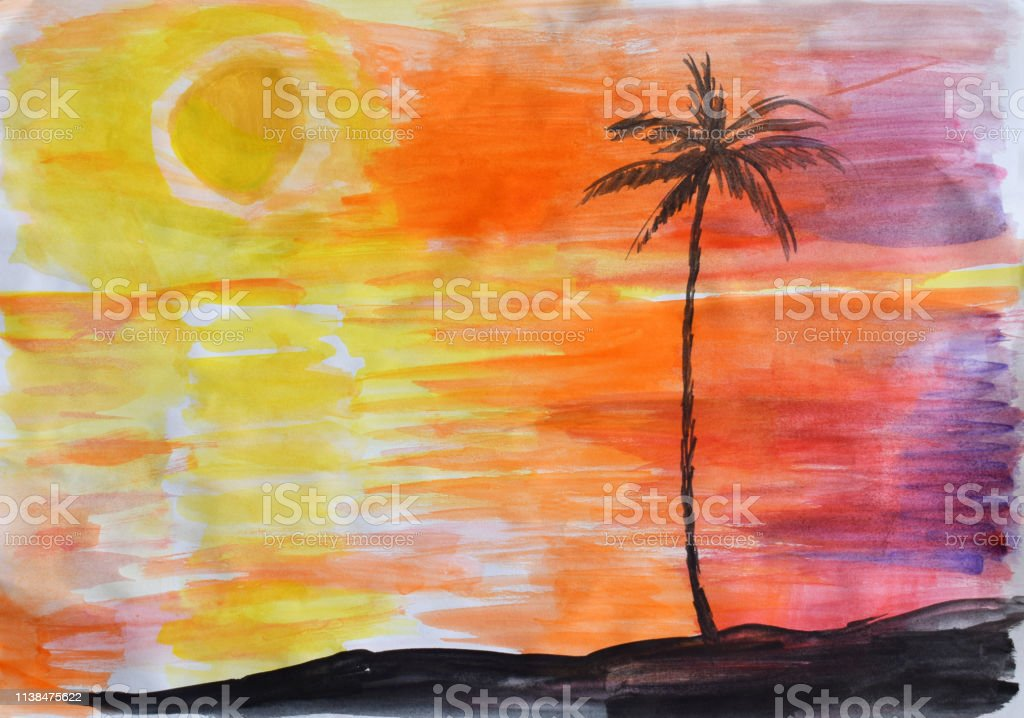Childrens Drawing Sunset On The Island In The Sea Or Ocean
