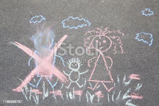 1166996797 istock photo Children's drawing with chalk on the asphalt, family with no dad: crossed out dad, mom and baby. Family divorce topic. 1166996797