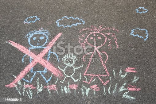 1166996797 istock photo Children's drawing with chalk on the asphalt, family with no dad: crossed out dad, mom and baby. Family divorce topic. 1166996845