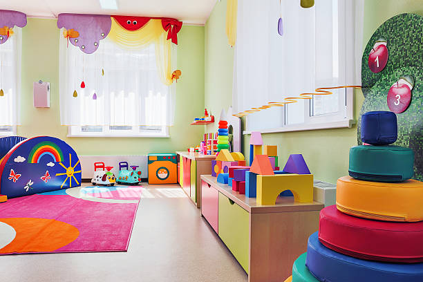 children's games room. - preschool building stock photos and pictures