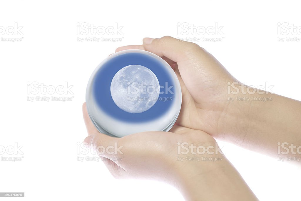 Children's hands on the world. royalty-free stock photo