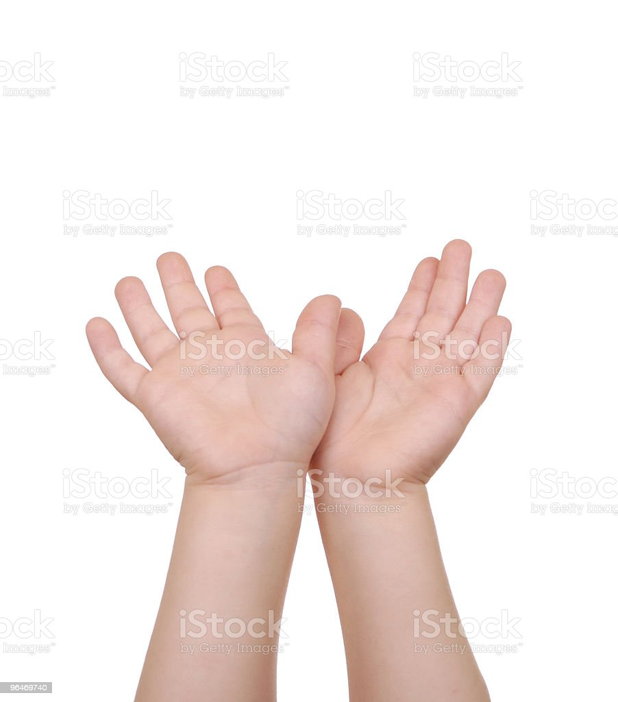 Children's hands palms upwards on white royalty-free stock photo