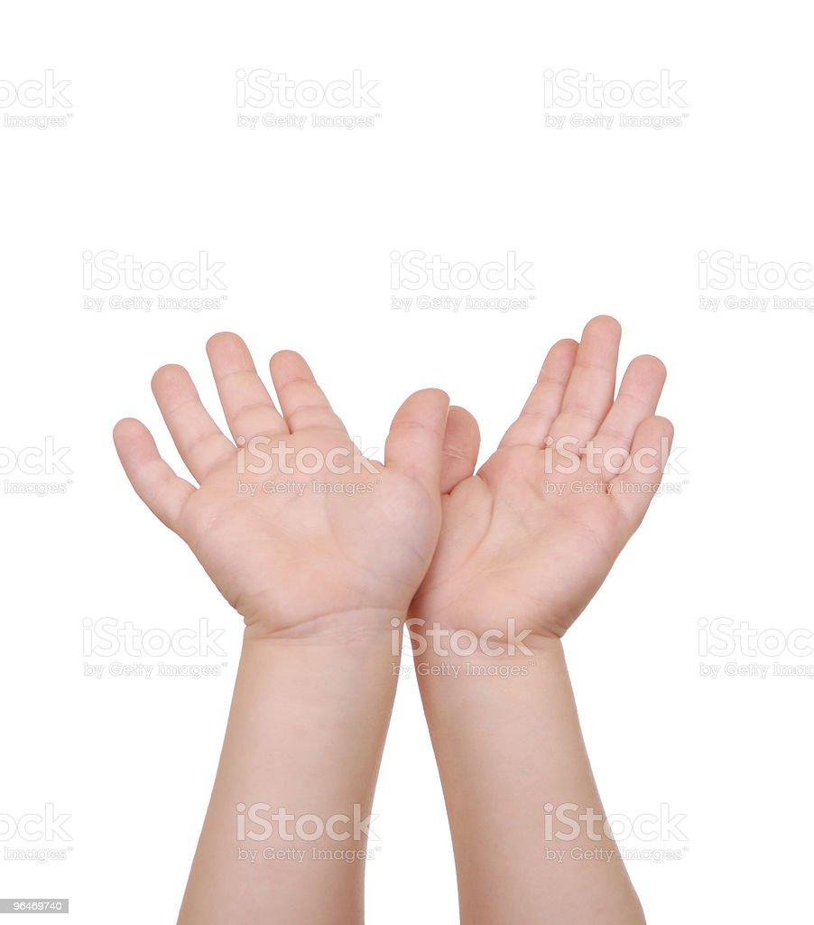 Children's hands palms upwards on white royalty-free stock photo