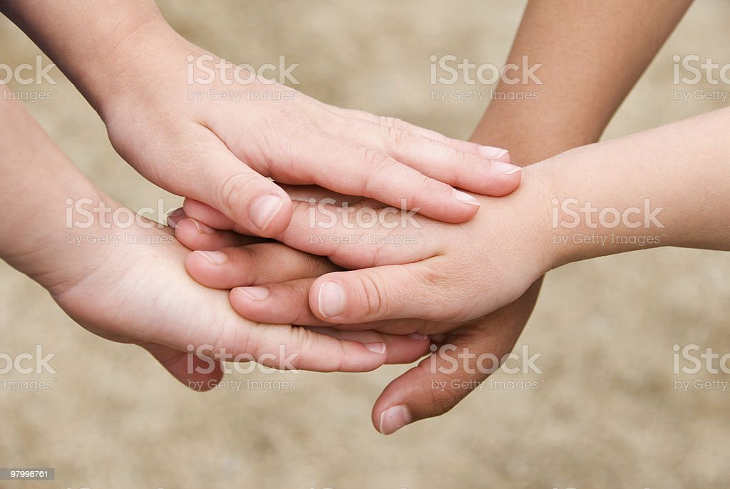 Children's hands stacked together royalty-free stock photo