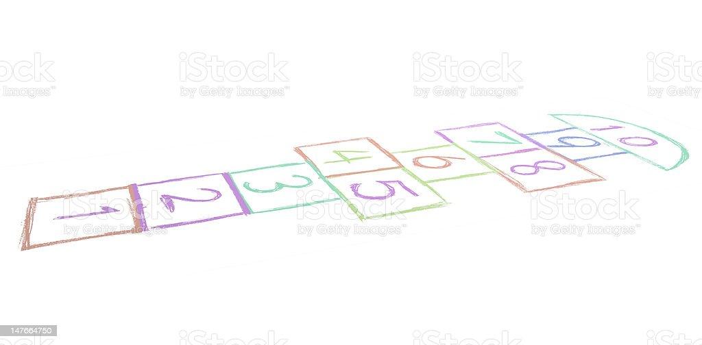 Children's Hopscotch Game stock photo