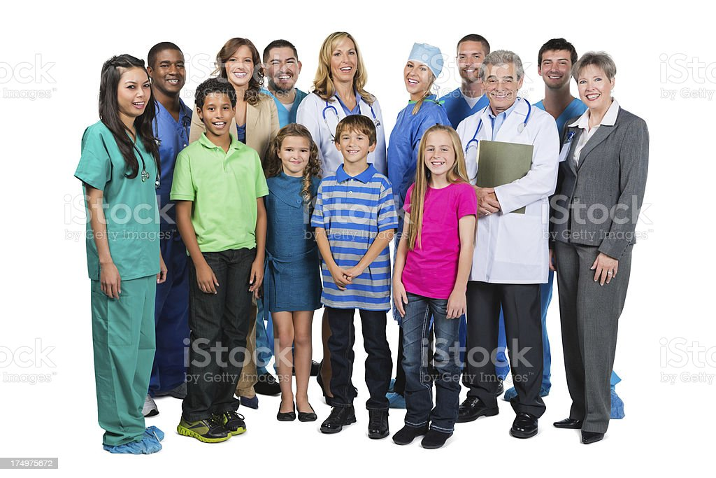 Children's hospital staff with patients isolated on white background royalty-free stock photo