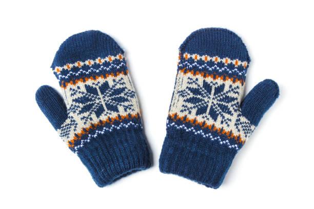 children's knitted mittens - mitene imagens e fotografias de stock
