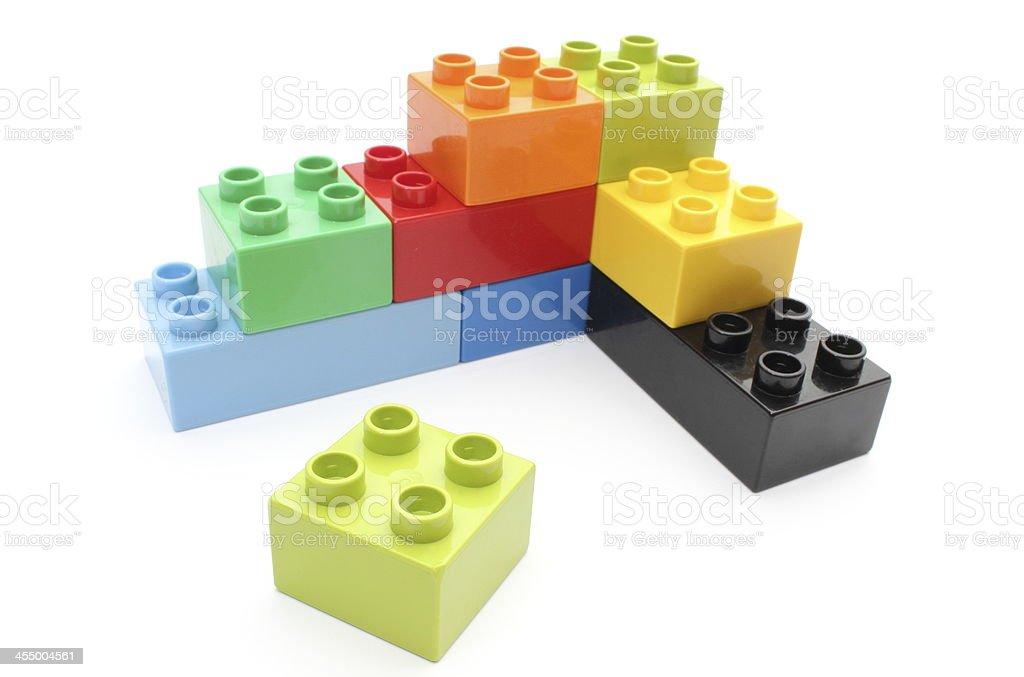 Children's Lego building blocks in assorted colors stock photo