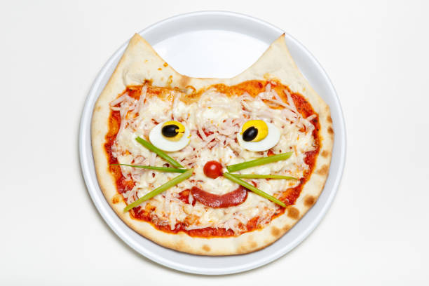 Children's pizza in the shape of a cat's face on a white plate stock photo