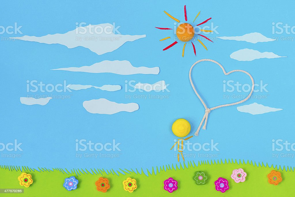 Children's play: Love in the air stock photo