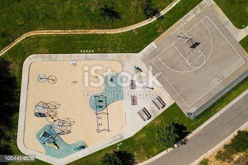 istock Children's Playground - Aerial Drone Shot 1054414526