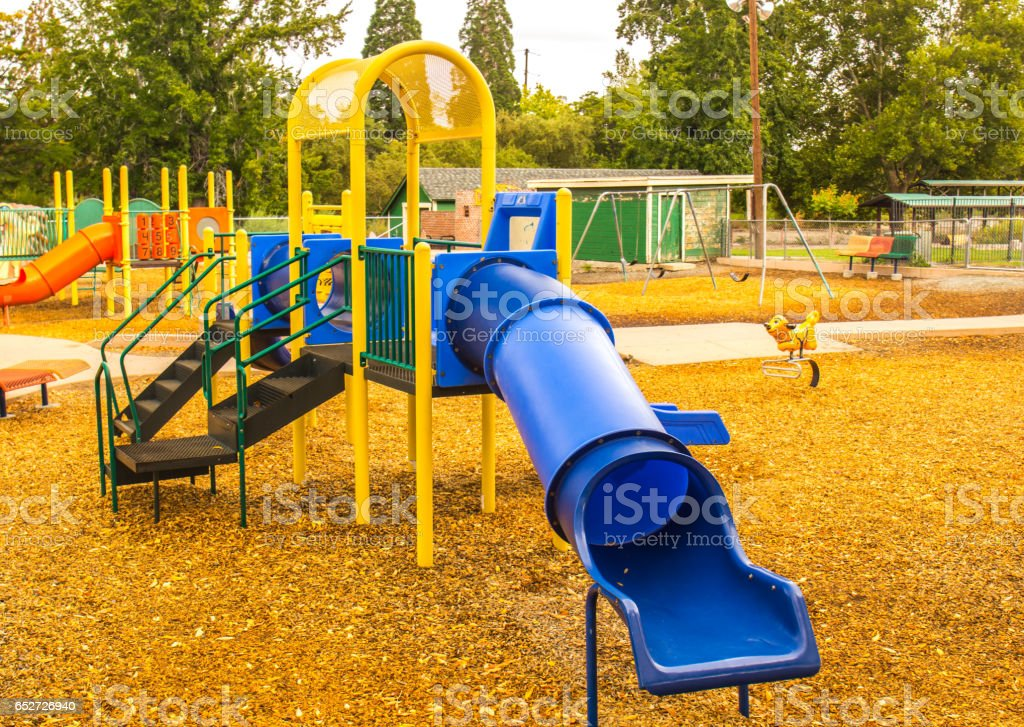 Childrens Playground in Fall stock photo
