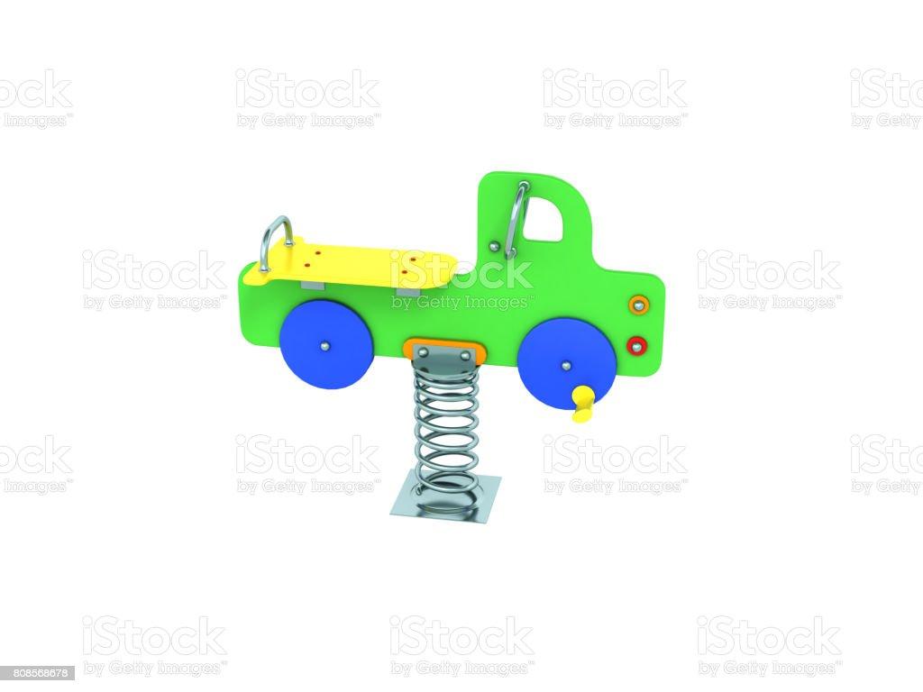 Childrens playground spring green machine 3d render on white background no shadow stock photo