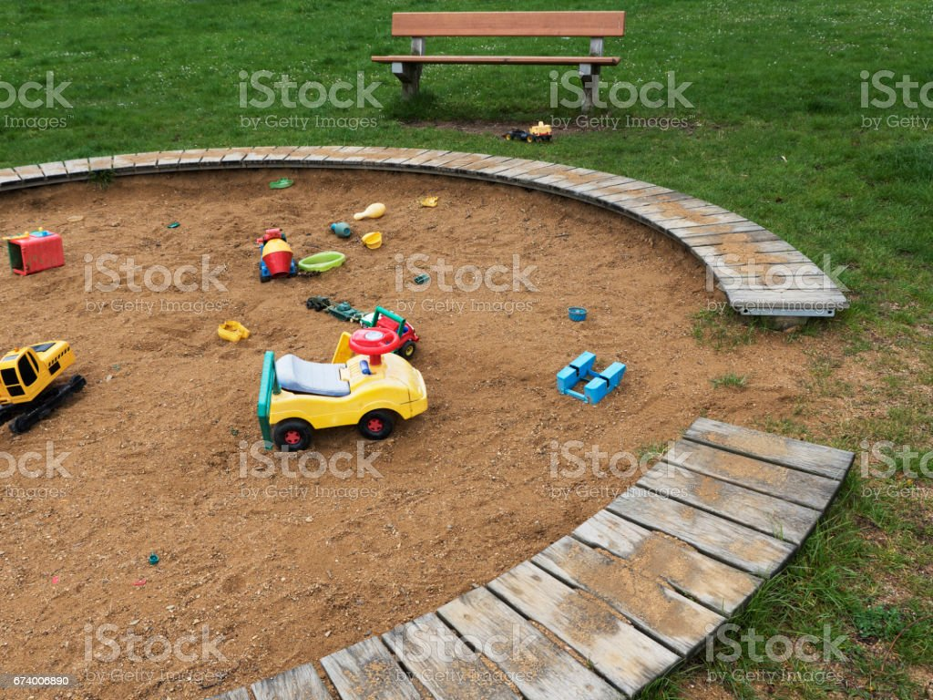 Children's playground with sandbox and toys, relaxation park. Familie place. royalty-free stock photo