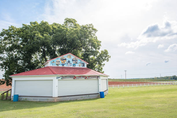 Children's playhouse in upstate South Carolina Cooley Springs, South Carolina, Sept. 10, 2017: The Strawberry Hillbilly Playhouse, a stage surrounded by beautiful farmland and run by Strawberry Hill Farms where locals put on fun plays for children apostate stock pictures, royalty-free photos & images