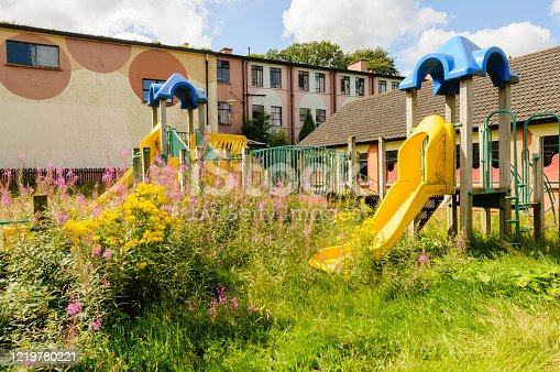 Children's playpark at an abandoned hotel outdoor pursuit centre