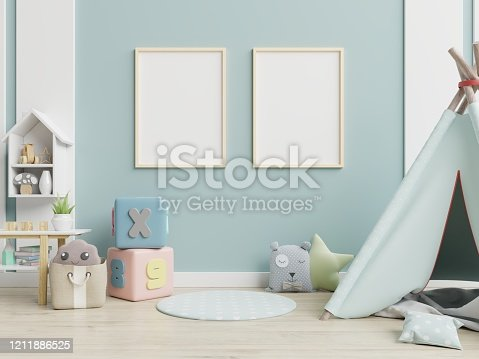 1208254898 istock photo Children's playroom with tent and table sitting,doll. 1211886525