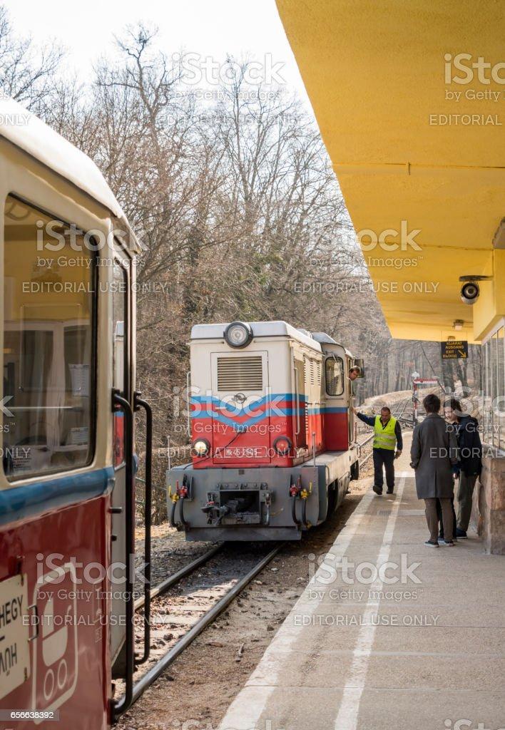 Children's Railway Train in Budapest stock photo