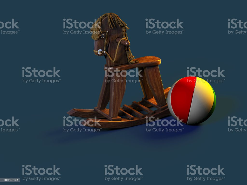 Children's rocking horse and ball in the children's room the evening before bedtime by the light of a lamp. 3D illustration. 3D rendering stock photo