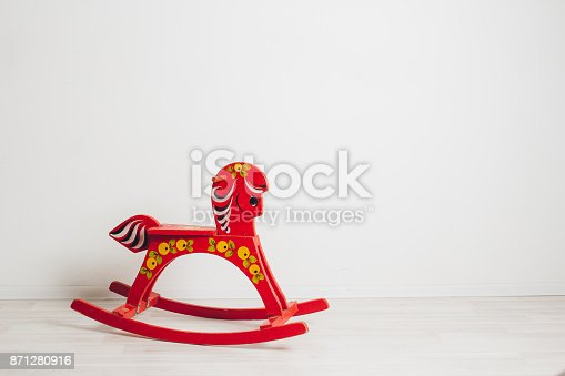istock Children's rocking horse on a white background 871280916