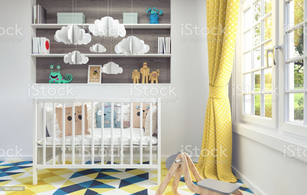 Children's room with cradle for baby 3d render stock photo