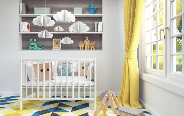 Kinderzimmer mit Docking-Station für Baby 3d render – Foto