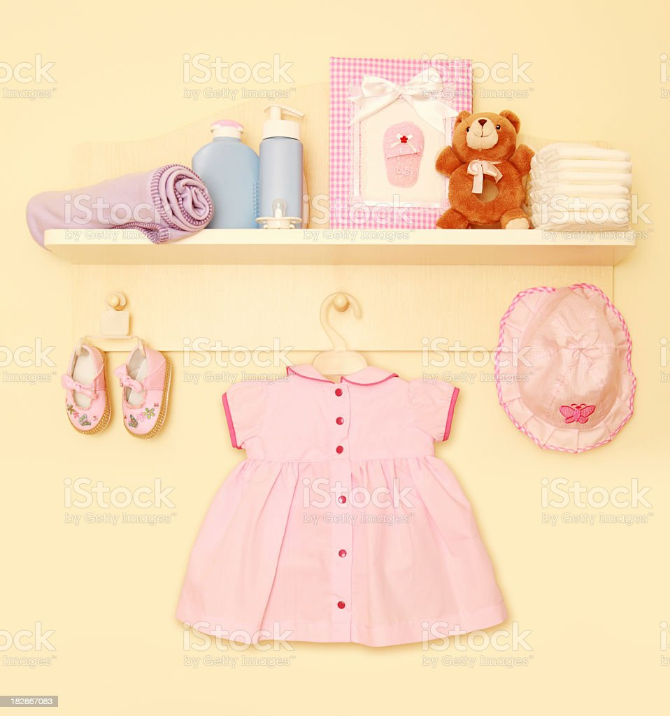 Children's room with girl clothing stock photo