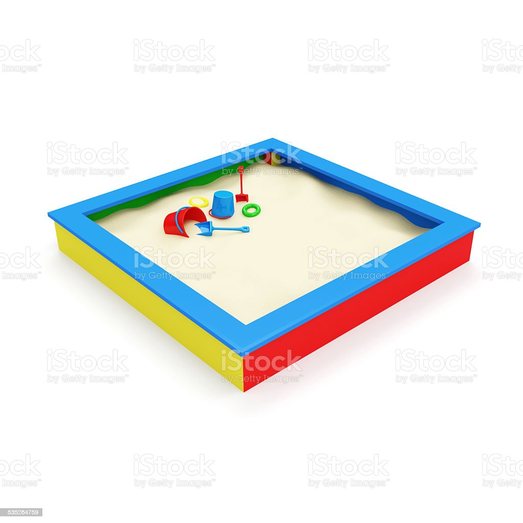Children's Sandbox with Toys isolated on white background stock photo