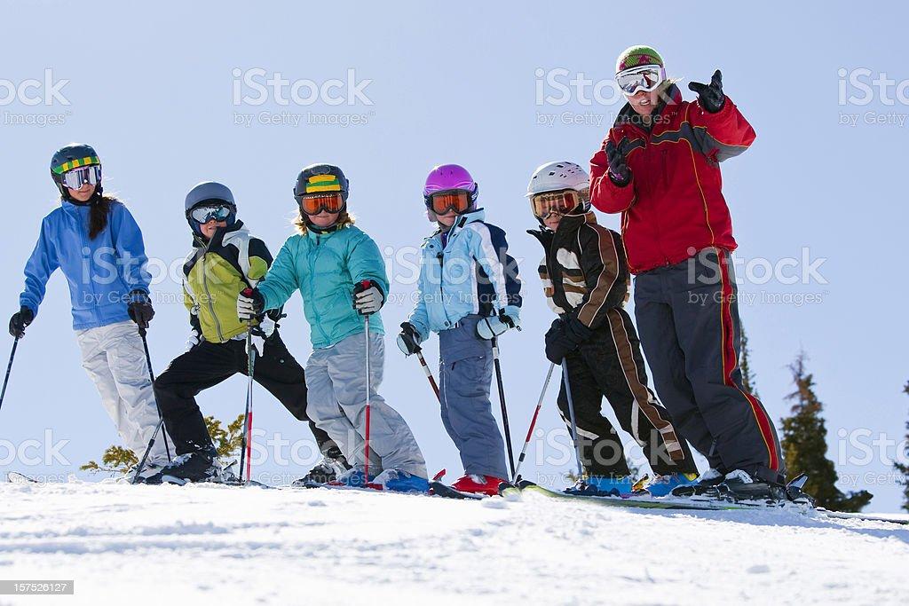 Childrens ski lessons stock photo