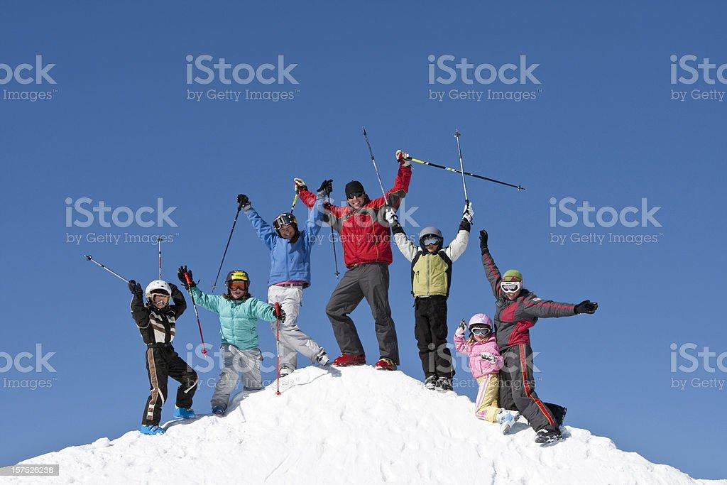 Childrens ski school stock photo