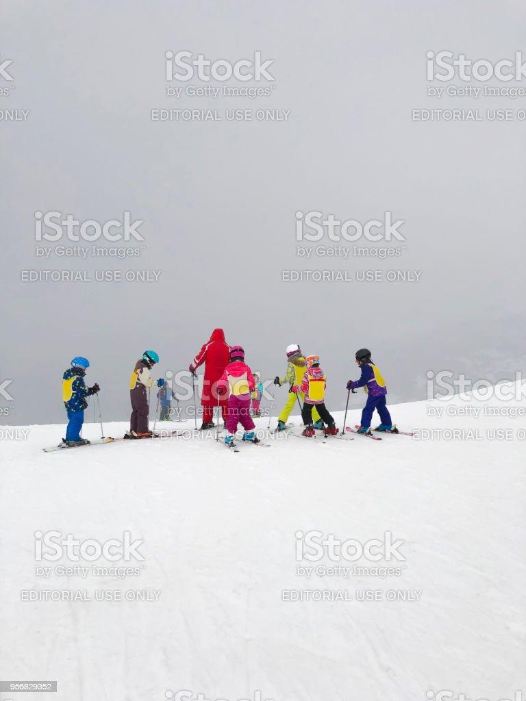 Children's Skiing Class in Samoens, France stock photo