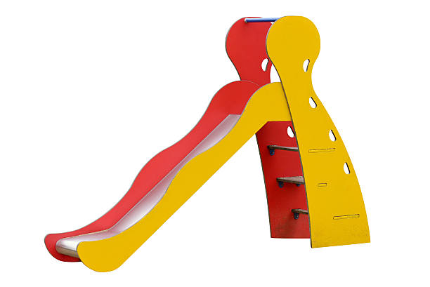 children's slide isolated on white background - escorregador - fotografias e filmes do acervo