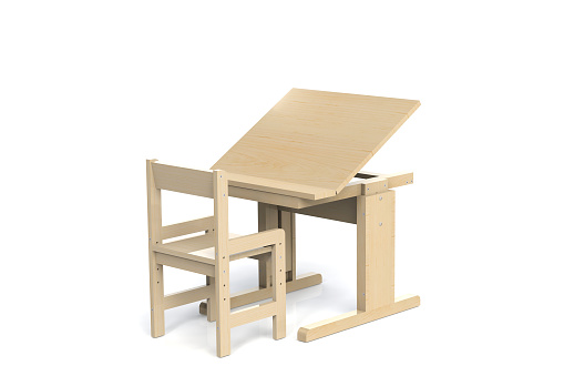 Childrens Small Wooden Table And Chair School Desk With