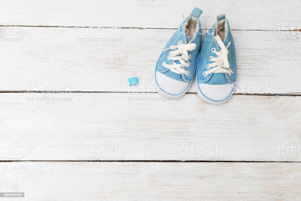 Children's sneakers for a boy of blue color. Mockup stock photo