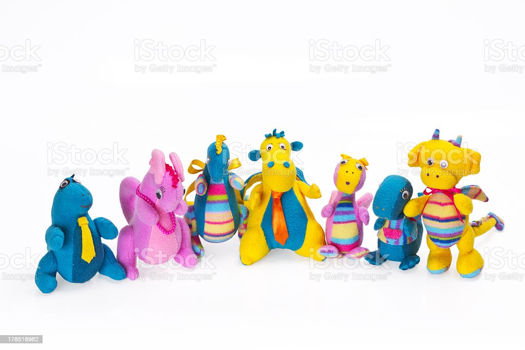 Children's soft toys it is isolated on the white royalty-free stock photo
