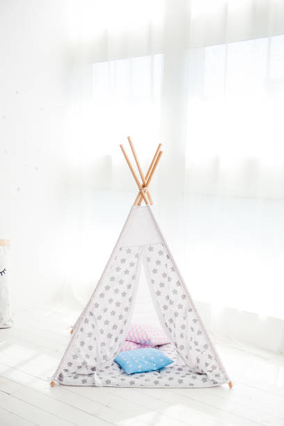 children's tent or wigwam with a dream catcher stock photo