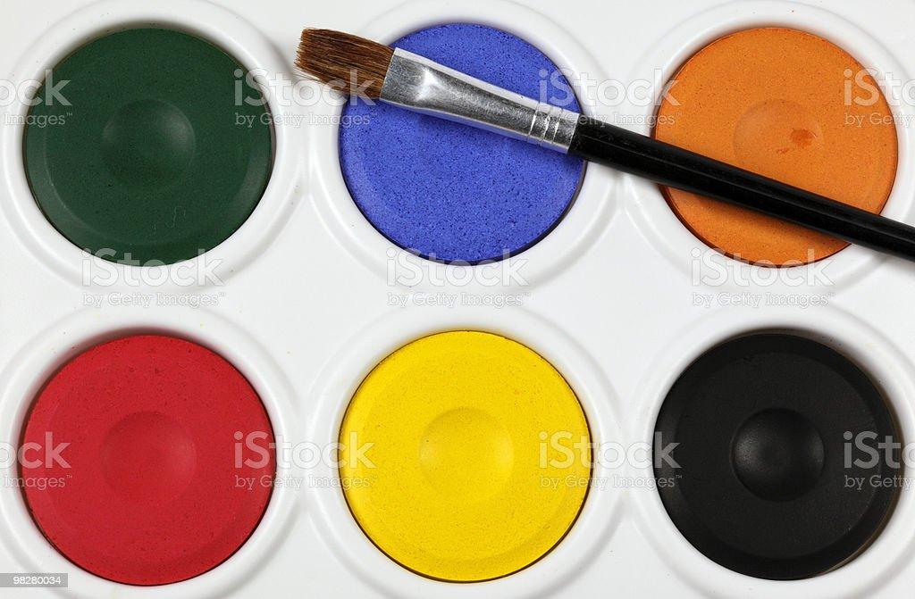 children's watercolour paint palette royalty-free stock photo