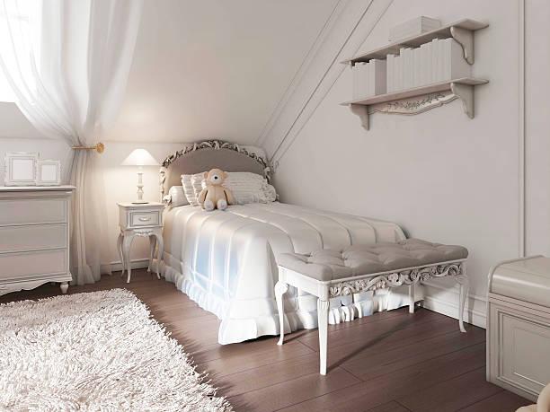 children's white bed with blanket in art deco style. - kinderzimmer tischleuchten stock-fotos und bilder